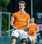AMSTELVEEN -  Tim Swaen (Bldaal) heeft de stand op 0-2 gebracht   tijdens de play-offs hoofdklasse  heren , Amsterdam-Bloemendaal (0-2).    COPYRIGHT KOEN SUYK