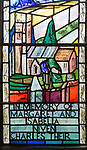 Modern stained glass window in church of Saints Peter and Paul, Marden, Wiltshire, England, UK by Molly Kettlewell 1979 showing  landscape Vale of Pewsey chalk downs