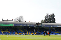Southend United warm up during the Sky Bet League 1 match between Southend United and MK Dons at Roots Hall, Southend, England on 21 April 2018. Photo by Carlton Myrie.