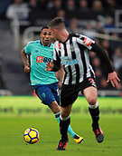 4th November 2017, St James Park, Newcastle upon Tyne, England; EPL Premier League football, Newcastle United Bournemouth; Callum Wilson of AFC Bournemouth takes on Ciaran Clark of Newcastle United in the second half