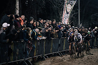 Pauline Ferrand-Prevot (FRA/Canyon-SRAM), Sanne Cant (BEL/Iko-Beobank) &amp; Maud Kaptheijns (NED/Crelan-Charles) plowing through the sand<br /> <br /> Women's Race<br /> Superprestige Diegem / Belgium 2017