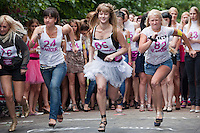 Moscow Russia, 09/07/2011..Contestants in a High Heel Race competition organised by Russian Glamour magazine in central Moscow. About 100 young women took part in a series of races.