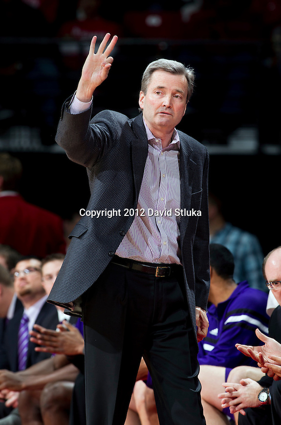 Northwestern Wildcats Head Coach Bill Carmody looks on during a Big Ten Conference NCAA college basketball game against the Wisconsin Badgers on January 18, 2012 in Madison, Wisconsin. The Badgers won 77-57. (Photo by David Stluka)