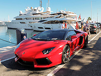 Right-hand drive, UK-registered, OZ1, Lamborghini, sports car, at the marina, Puerto Banus, Spain, October, 2016, 201610102965. The registration number was issued in N Ireland.<br />