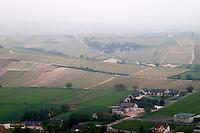 Vineyard. View over Pascal Jolivet winery. Sancerre village, Loire, France