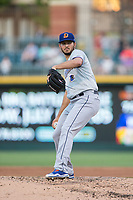 Durham Bulls starting pitcher Jacob Faria (36) in action against the Charlotte Knights at BB&T BallPark on May 15, 2017 in Charlotte, North Carolina. The Knights defeated the Bulls 6-4.  (Brian Westerholt/Four Seam Images)