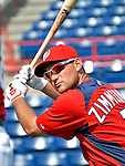 4 March 2011: Washington Nationals third baseman Ryan Zimmerman awaits his turn in the batting cage prior to Spring Training action against the Atlanta Braves at Space Coast Stadium in Viera, Florida. The Braves defeated the Nationals 6-4 in Grapefruit League action. Mandatory Credit: Ed Wolfstein Photo