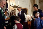 Washington, DC - December 16, 2009 -- United States President Barack Obama and First Lady Michelle Obama host a Hanukkah reception in the Grand Foyer of the White House, Wednesday, December 16, 2009. .Mandatory Credit: Samantha Appleton - White House via CNP