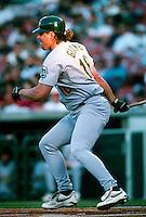 Jason Giambi of the Oakland Athletics during a game at Anaheim Stadium in Anaheim, California during the 1997 season.(Larry Goren/Four Seam Images)