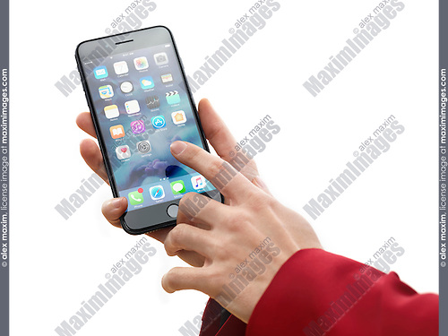 Woman hand holding Apple iPhone 7 Plus and touching screen with a finger isolated on white background