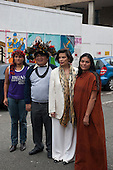 London, England. Visit of Sheyla Yakarepi Juruna, Chief Almir Narayamoga Surui and Ruth Buendia Mestoquiari Ashaninka to London to highlight the impact of hydroelectric dams proposed for the rivers of the Amazon basin,