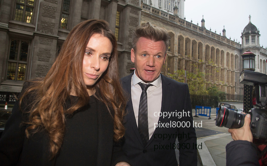 Pic shows: TV chef  Gordon Ramsay arriving with his wife Tana Ramsay -arrives at High Court in London today 28.11.14<br /> <br /> He gave evidence in a case versus Gary Love - film director over a lease and forged signature.<br /> <br /> <br /> <br /> <br /> Pic by Gavin Rodgers/Pixel 8000 Ltd