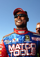 Jul. 18, 2010; Sonoma, CA, USA; NHRA top fuel dragster driver Antron Brown during the Fram Autolite Nationals at Infineon Raceway. Mandatory Credit: Mark J. Rebilas-