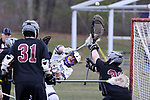 St Rose High Schol takes on Red Bank Regional High School in a boys varsity lacrosse held in Wall Township.<br />   Spencer Flynn (center) takes a shot on the Red Bank Regional goal during first half of game action.(3/28/18)<br /> (MARK R. SULLIVAN /THE COAST STAR)