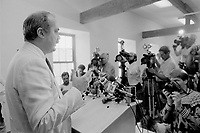 Montreal, CANADA - File Photo -  Nick Auf Der Maur speak at the Parti Civique de Montreal news conference, August 19, 1988, while leader Claude Dupras (L) listen)<br /> <br /> Photo : Agence Quebec Presse  - Pierre Roussel
