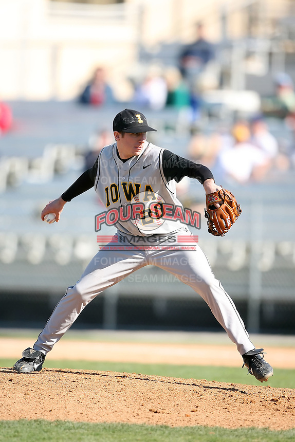 February 21, 2009:  Pitcher Patrick Schatz (20) of the University of Iowa during the Big East-Big Ten Challenge at Jack Russell Stadium in Clearwater, FL.  Photo by:  Mike Janes/Four Seam Images