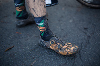 Maud Kaptheijns (NED/Crelan-Charles) post race muddy shoes.<br /> <br /> women's elite race<br /> Flandriencross Hamme / Belgium 2017