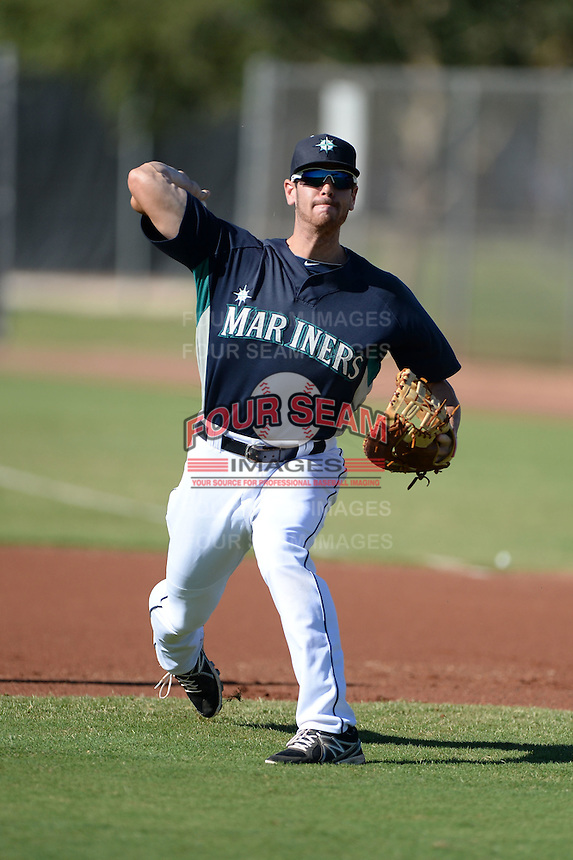 Seattle Mariners first baseman Kyle Petty (66) during practice before an Instructional League game against the Milwaukee Brewers on October 4, 2014 at Peoria Stadium Training Complex in Peoria, Arizona.  (Mike Janes/Four Seam Images)