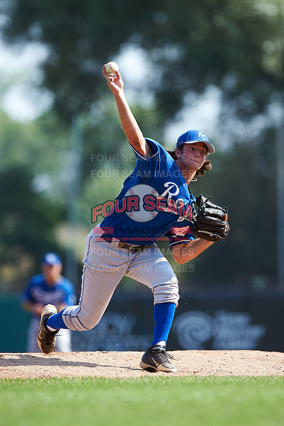Ryan Leone #45 of Calvary Baptist Academy in Keithville, Louisiana playing for the Kansas City Royals scout team during the East Coast Pro Showcase at Alliance Bank Stadium on August 4, 2012 in Syracuse, New York.  (Mike Janes/Four Seam Images)