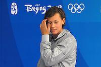 Federica Pellegrini Italia Medaglia d'oro e record del mondo 200m stile libero.Gold Medal and World record sul podio.National Aquatics Centre Nuoto.Pechino - Beijing 13/8/2008 Olimpiadi 2008 Olympic Games.Foto Andrea Staccioli Insidefoto