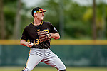5 March 2019: Pittsburgh Pirates minor league Position Player Robert Glendinning works on infield drills at Pirate City in Bradenton, Florida. Mandatory Credit: Ed Wolfstein Photo *** RAW (NEF) Image File Available ***