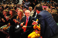 Liverpool, England. 24th September, 2016. <br /> Jeremy Corbyn is announced as the new leader of the Labour Party at the ACC Conference Centre. Mr Corbyn&rsquo;s victory followed nine weeks of campaigning against fellow candidate, Owen Smith. Mr Corbyn, (centre) moves to shake hands with his rival Owen Smith. This is his second leadership victory in just over twelve months and was initiated by the decision of Angela Eagle to stand against him. Kevin Hayes/Alamy Live News