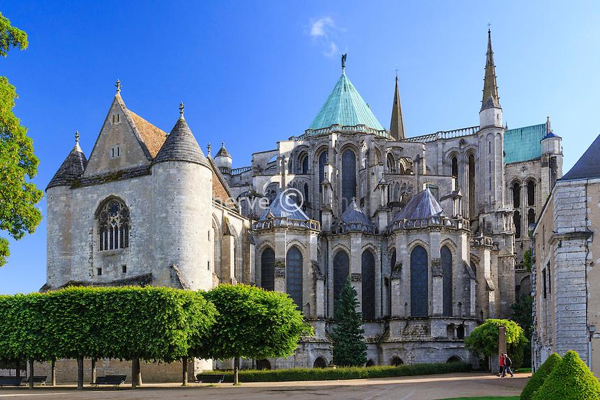 France, Eure-et-Loir (28), Chartres, la cathédrale Notre-Dame de Chartres, classé au Patrimoine  mondial de l'UNESCO, le chevet // France, Eure et Loir, Chartres, Notre Dame de Chartres Cathedral, listed as a World Heritage by UNESCO, the apse