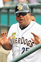 Charleston RiverDogs manager Luis Dorante (25) in the dugout during a game against the Augusta GreenJackets at Joseph P.Riley Jr. Ballpark on April 15, 2015 in Charleston, South Carolina. Charleston defeated Augusta 8-0. (Robert Gurganus/Four Seam Images)