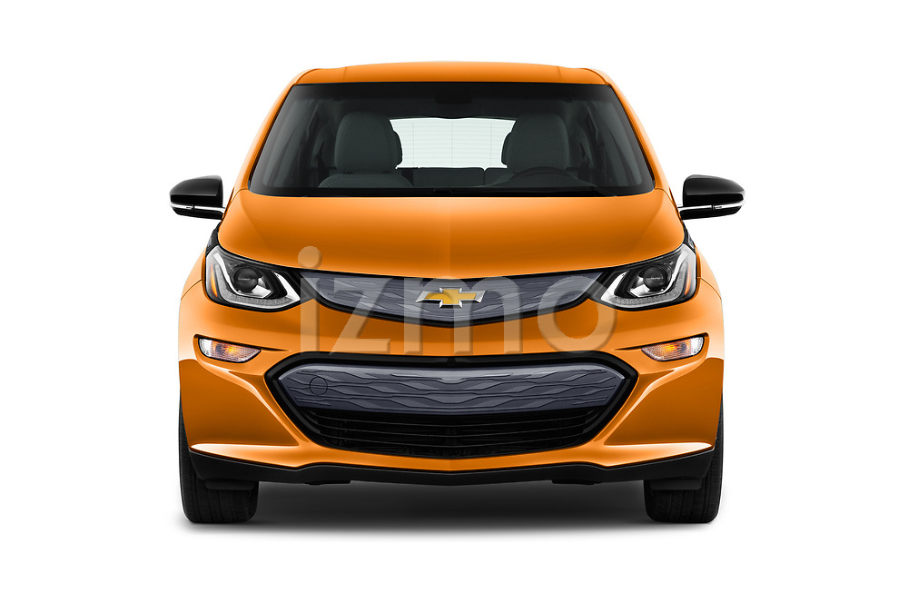 Car photography straight front view of a 2018 Chevrolet Bolt-EV LT 5 Door Hatchback Front View