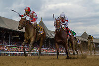 SARATOGA SPRINGS, NY- AUGUST 04: Jose Ortiz celebrates winning the Test Stakes aboard Separationofpower at Saratoga Racecourse on August 4, 2018 in Saratoga Springs, New York.(Photo by Alex Evers/Eclipse Sportswire)