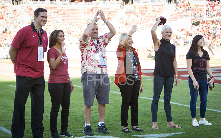 Stanford, CA - September 21, 2019: Mark Madsen, Diane Morrison Shropshire, Bill Tarr Jr, Deanna Tarr, Susan Hagy Wall, Tabitha Yim at Stanford Stadium. The Stanford Cardinal fell to the Oregon Ducks 21-6.