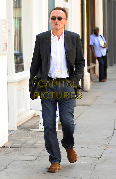 DANNY  BOYLE.The Oscar-winning film director is spotted walking through Soho, London, England, UK, May 24th 2010..full length white shirt jeans black jacket sunglasses brown shoes hand in pocket .CAP/DYL.©Dylan/Capital Pictures.