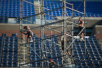 Flushing, NY - 22 August 2005 - Workers install scafolding for the Arthur Ash Kids' Day on the Arthur Ash court at the National Tennis Center in Flushing, Queens, NY, USA, during preparations for the 2005 US Open, 22 August 2005.