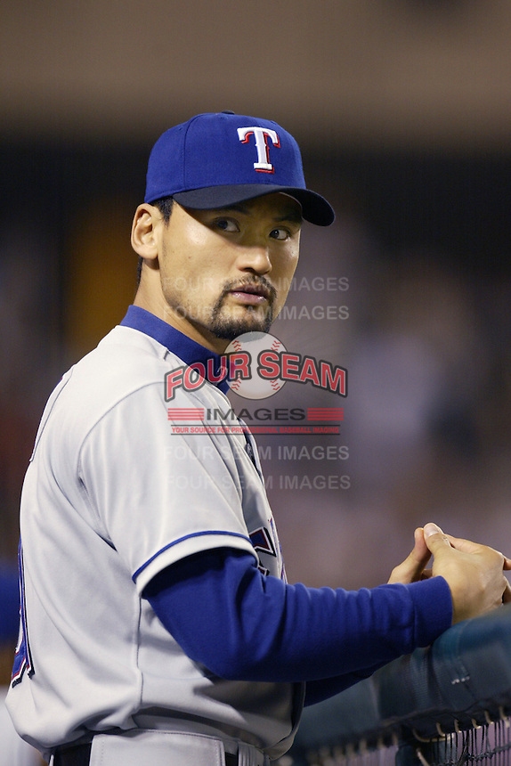 Chan Ho Park of the Texas Rangers during a 2002 MLB season game against the Los Angeles Angels at Angel Stadium, in Los Angeles, California. (Larry Goren/Four Seam Images)