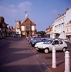 Cars parked in High Street, Marlborough, Wiltshire, England around 1990
