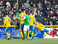 9th February 2020; Indodrill Stadium Alloa, Alloa Clackmannashire, Scotland; Scottish Cup Football, BSC Glasgow versus Hibernian; Ross Smith of BSC Glasgow FC pulls a goal back with a diving head to make it 1-2