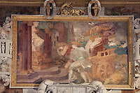 Cleobis and Biton, showing the brothers pulling Cydippe a chariot to the Temple of Hera, fresco by Rosso Fiorentino, 1535-37, in a carved stucco frame, in the Galerie Francois I, begun 1528, the first great gallery in France and the origination of the Renaissance style in France, Chateau de Fontainebleau, France. The Palace of Fontainebleau is one of the largest French royal palaces and was begun in the early 16th century for Francois I. It was listed as a UNESCO World Heritage Site in 1981. Picture by Manuel Cohen