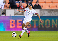 HOUSTON, TX - JANUARY 28: Lynn Williams #13 of the United States dribbles during a game between Haiti and USWNT at BBVA Stadium on January 28, 2020 in Houston, Texas.