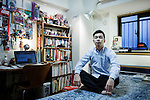 Tokyo, January 18 2013 - Portrait of Akashi Oda in his room at his parent's place.