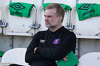 Steven Pressley Manager of Carlisle United watches on during the warm up before Colchester United vs Carlisle United, Sky Bet EFL League 2 Football at the JobServe Community Stadium on 23rd February 2019