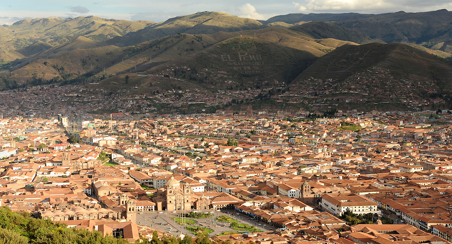 The Saqsaywaman ruins overlook the magnificent city of Cusco, the former capital of the Inca empire. Viewers can see the infrastructure of the close-knit Cusco community and the beautiful Andes Mountains set behind the homes. Cusco's population is close to 350,000.