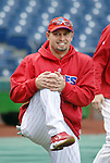 10/17/08 1:19:41 PM -- Philadelphia, PA, U.S.A. -- Philadelphia Phillies Shane Victorino warms up before practice October 17, 2008 at Citizen's Bank Park in Philadelphia, Pennsylvania. Victorino showed the team that cast him aside that it made a costly error. The Philadelphia outfielder, who spent six years in the L.A. Dodgers' farm system, used key hits in pressure situations, including a triple, Game 4 eighth-inning homer and six RBI during the NLCS, to help the Phillies beat the Dodgers and reach their first World Series since 1993. -- ...Photo by William Thomas Cain, Freelance.