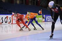 SCHAATSEN: HEERENVEEN: IJsstadion Thialf, 10-01-2013, Seizoen 2012-2013, Essent ISU EK allround training, Konrad Niedżwiedzki (POL), Sven Kramer (NED), ©foto Martin de Jong