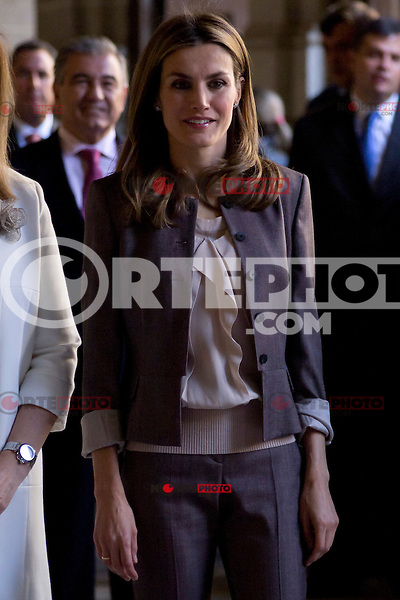 11.09.2012. Princess Letizia of Spain visits, accompanied by the Minister of employment Fatima Ba&ntilde;ez, the exhibition commemorating the 25th anniversary of Workshop Schools and Employment Workshops at the Board of Directors of National Heritage at the Royal Monastery of San Lorenzo de El Escorial, Madrid. In the image Princess Letizia  (Alterphotos/Marta Gonzalez) /NortePhoto.com<br /> <br /> **CREDITO*OBLIGATORIO** *No*Venta*A*Terceros*<br /> *No*Sale*So*third*...
