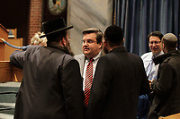 Montreal mayor Denis Coderre and other politicians  attend a vigil in Beth Israel synagogue, January 11, 2015 after the Charlie Hebdo terrorist attack.<br /> <br /> photo : Agence Quebec Presse