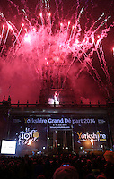 PICTURE BY VAUGHN RIDLEY/SWPIX.COM - Cycling - Tour de France - Yorkshire Grand Depart 2014 Launch - Town Hall, Leeds, England - 17/01/13 - Fireworks go off at Leeds Town Hall as the route for the 2014 Grand Depart is revealed.
