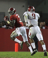 Arkansas Democrat-Gazette/BENJAMIN KRAIN --10/10/15--<br /> Alabama wide receiver Calvin Ridley (3) scores an 81 yard touchdown to give Alabama the lead in the third quarter of the Razorbacks 27-14 loss.