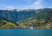 Oesterreich, Salzburger Land, Zell am See: Blick ueber den Zeller See auf Zell am See mit der Schmittenhoehe | Austria, Salzburger Land, Zell at Zeller Lake with Schmittenhoehe mountain