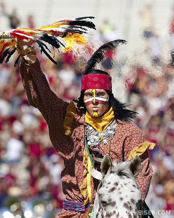 Chief Osceola atop Renegade take the field prior to Florida State defeating Boston College 24-19 in Tallahassee, Florida October 16, 2010.