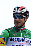 Italian National Champion Elia Viviani (ITA) Deceuninck-Quick Step on stage at sign on before the 2019 Gent-Wevelgem in Flanders Fields running 252km from Deinze to Wevelgem, Belgium. 31st March 2019.<br /> Picture: Eoin Clarke | Cyclefile<br /> <br /> All photos usage must carry mandatory copyright credit (© Cyclefile | Eoin Clarke)